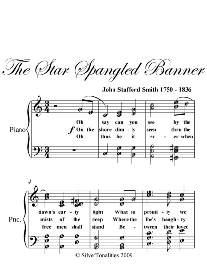 Star Spangled Banner Intermediate Piano Sheet Music Read Book Online