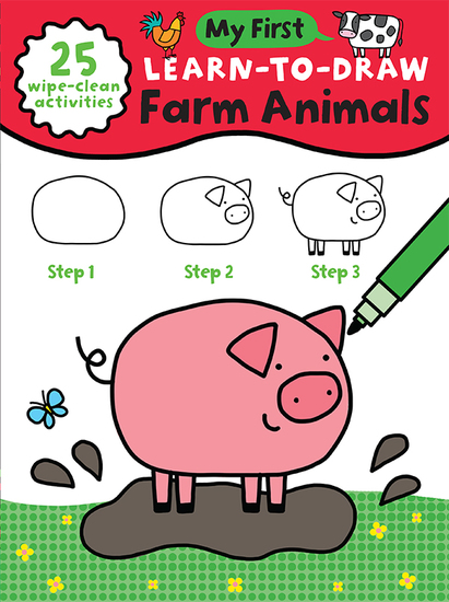 My First Learn-To-Draw: Farm Animals - (25 Wipe Clean Activities + Dry Erase Marker) - cover