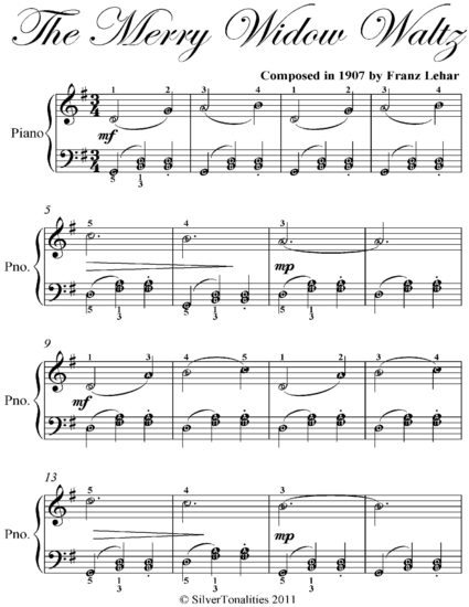 Merry Widow Waltz Easy Piano Sheet Music Read Book Online