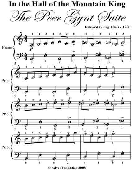 in the hall of the mountain king peer gynt suite easy piano sheet music cover