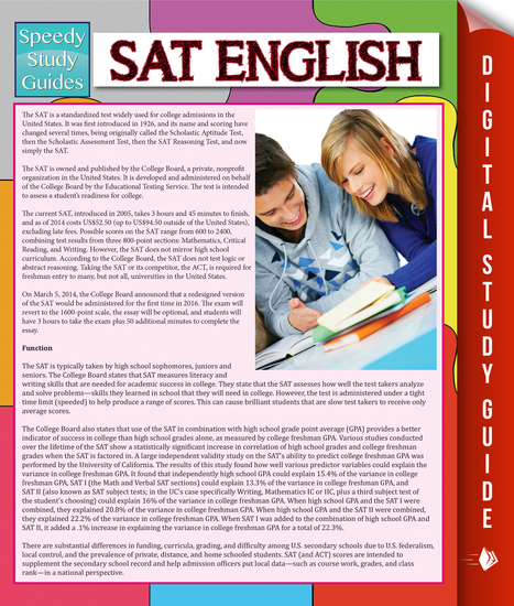 SAT English (Speedy Study Guide) - cover