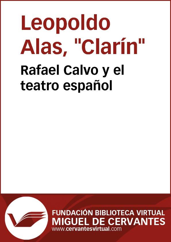 Rafael Calvo y el teatro español - cover