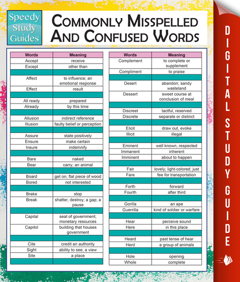 Commonly Misspelled And Confused Words (Speedy Study Guides) - cover