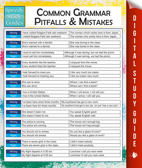 Common Grammar Pitfalls And Mistakes (Speedy Study Guides) - cover