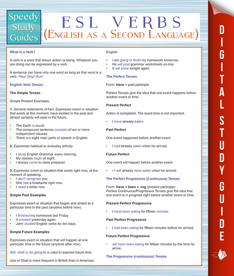 ESL Verbs (English as a Second Language) (Speedy Study Guides) - cover