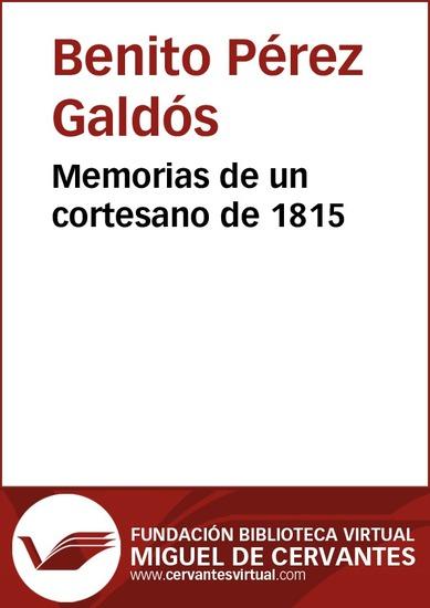 Memorias de un cortesano de 1815 - cover