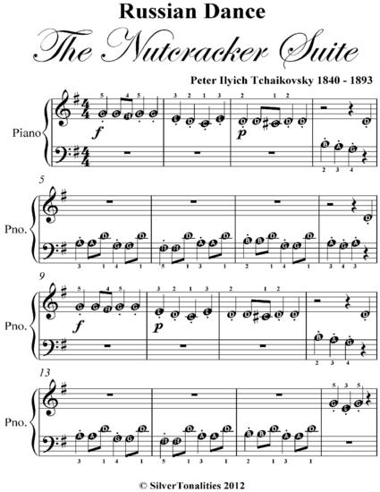 Russian Dance The Nutcracker Suite Beginner Piano Sheet